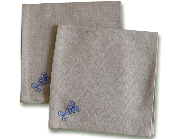 Serviettes De Table En Tissu Lin Brod Arabesque Bleue