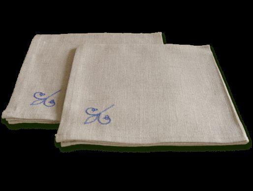 serviettes de table en tissu lin brodé lys bleu 3