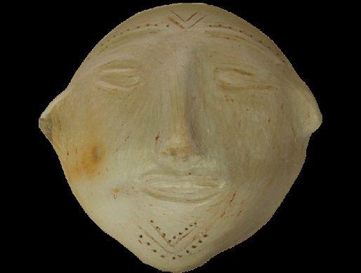 Masque blanc en terre cuite de sejnane