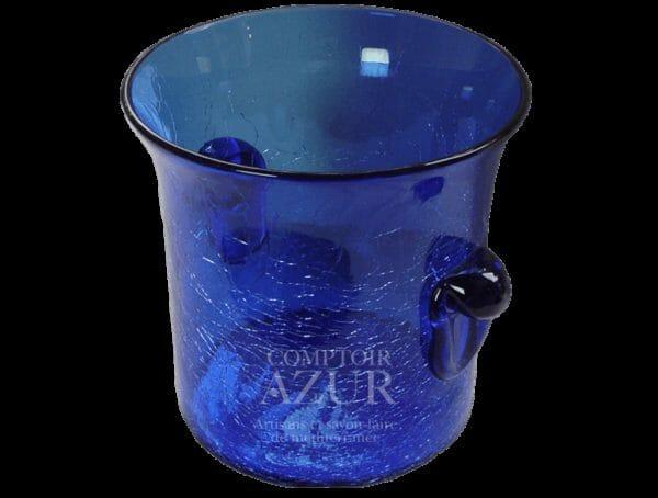 seau a glace en verre soufflé bleu 2