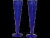Flutes champagne sans pied verre soufflé bleu 4