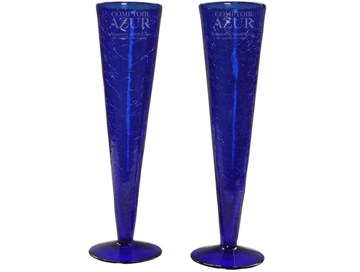 flutes champagne sans pied en verre souffl craquel bleu indigo. Black Bedroom Furniture Sets. Home Design Ideas