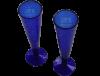 Flutes champagne sans pied verre soufflé bleu