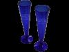 Flutes champagne sans pied verre soufflé bleu 3