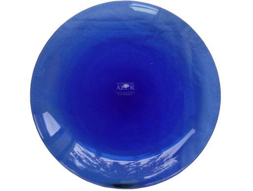 assiette de présentation bleue verre soufflé