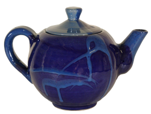 Théière en céramique émaillée bleue idée cadeau de Noël vert