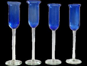 Flute champagne verre soufflé bleu 4