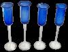 Flute champagne verre soufflé bleu 2