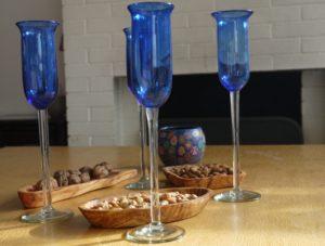Flute champagne verre soufflé bleu
