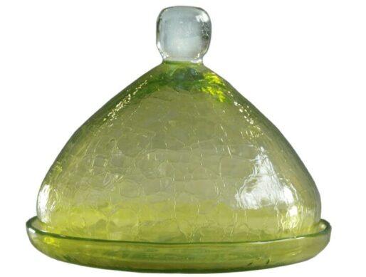 petite cloche verre souffle jaune 3