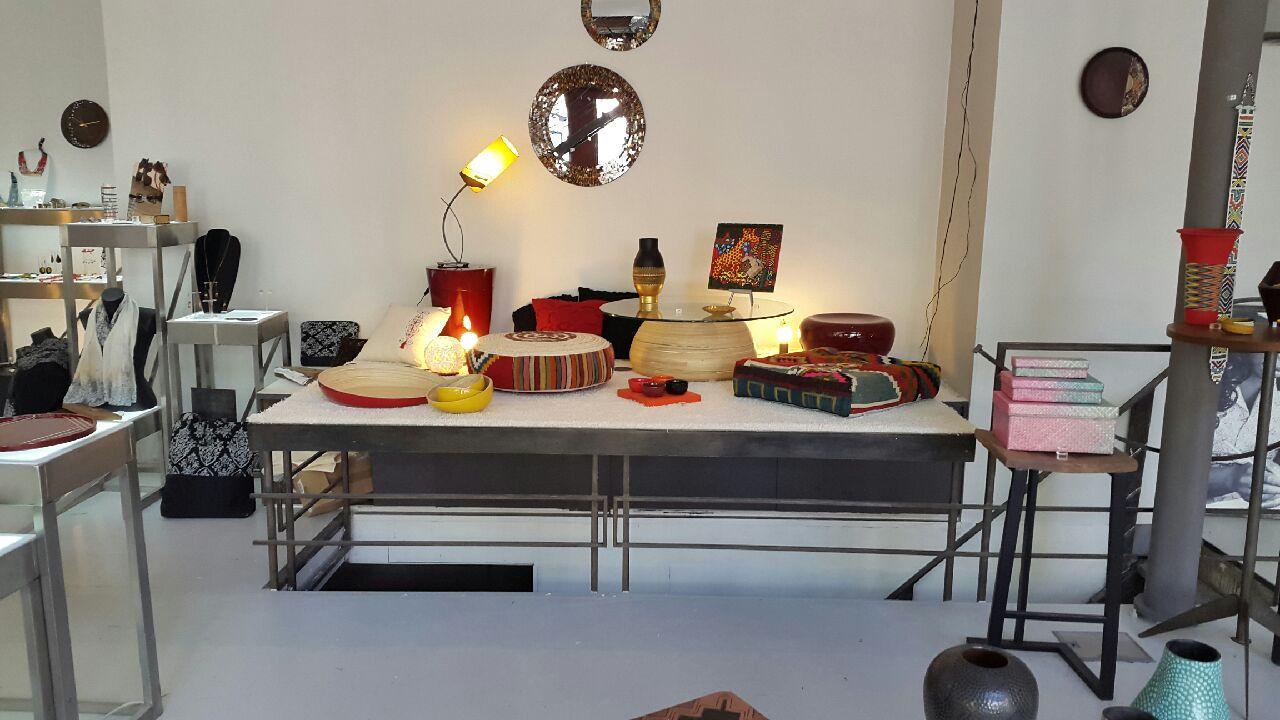 Ithemba Pouf carré en kilim et le pouf rond en kilim