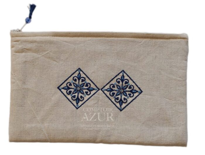 trousse maquillage brodee rosace bleue moyenne