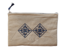 trousse maquillage brodee rosace bleue petite