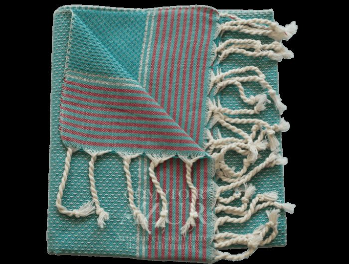 fouta turquoise rayée argent 3