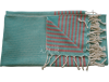 Fouta turquoise rayée rouge 3