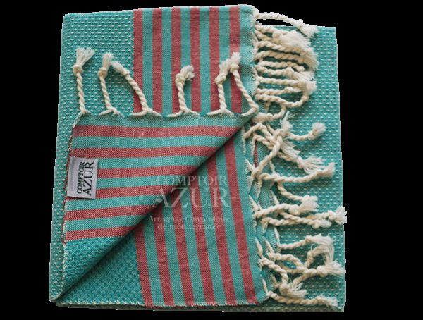 Fouta turquoise rayée rouge