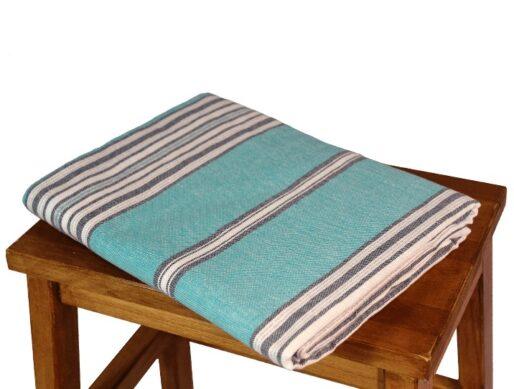 nappe en coton bleu turquoise rectangulaire 1
