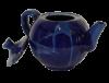 theiere ceramique emaillee bleue