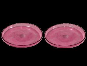 produit artisanal assiettes en verre soufflé rose plates