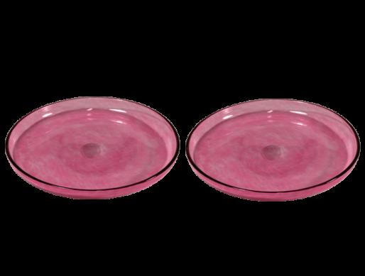 assiettes en verre soufflé rose plates