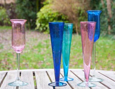 Flûtes à champagne en verre soufflé