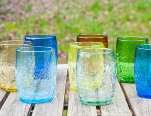 verres à eau ou à whisky en verre souflé