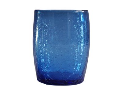 gobelet verre souffle bleu 02