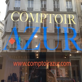 vitrine boutique parisienne comptoir azur 26 rue Mayet 75006