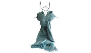 étole turquoise coton tissée main cadeau artisanal pour noel