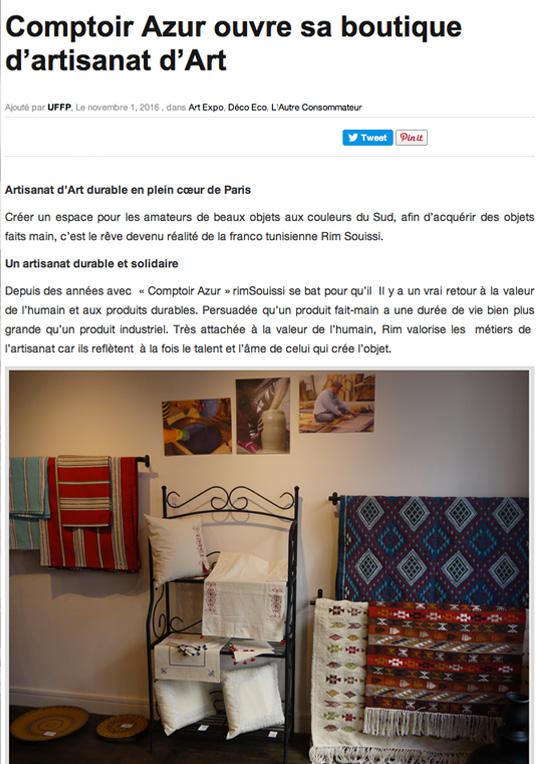 Comptoir Azur Boutique artisanat durable et solidaire UFFP nov 2016