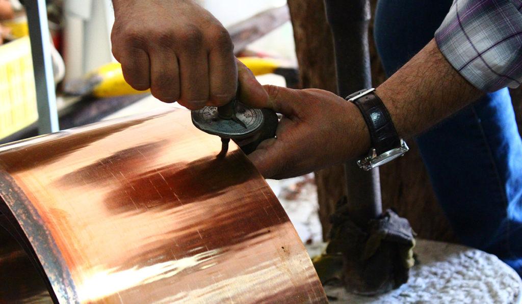 Cuivre martele dinanderie calibrage épaisseur feuille