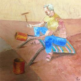 martelage du cuivre par un dinandier