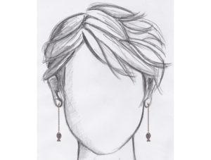 boucles d'oreilles pendantes poisson argente mannequin