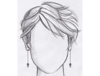 boucles oreilles pendantes poisson argente mannequin