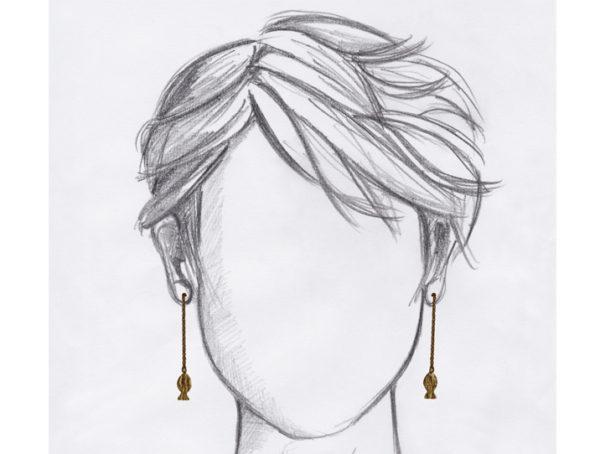boucles oreilles pendantes poisson dore mannequin