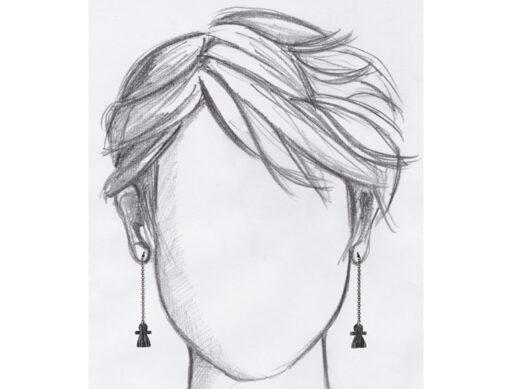 boucles oreilles pendantes tanit argente mannequin