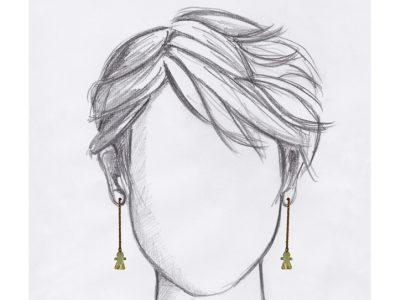 boucles oreilles pendantes tanit dore mannequin