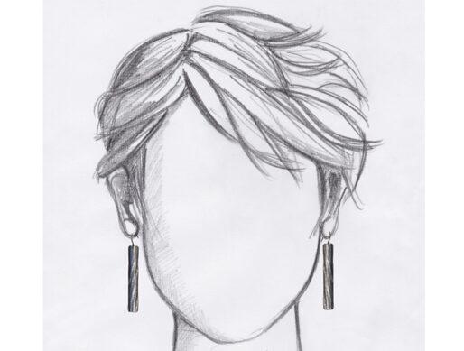 boucles oreilles dormeuses argente baguettes grandes mannequin