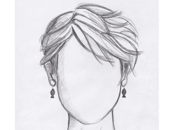 boucles oreilles dormeuses poisson argente petites mannequin