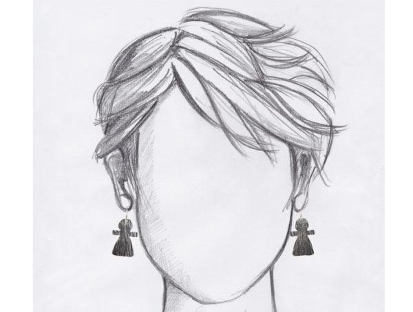 boucles oreilles dormeuses tanit argente grandes mannequin