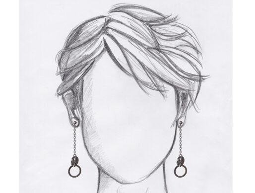 boucle oreille pendante argent portees