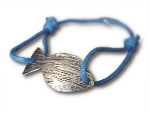 bracelet sur cordon bleu jean poisson argente