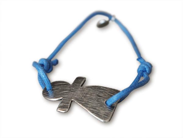 bracelet sur cordon bleu jean tanit argente