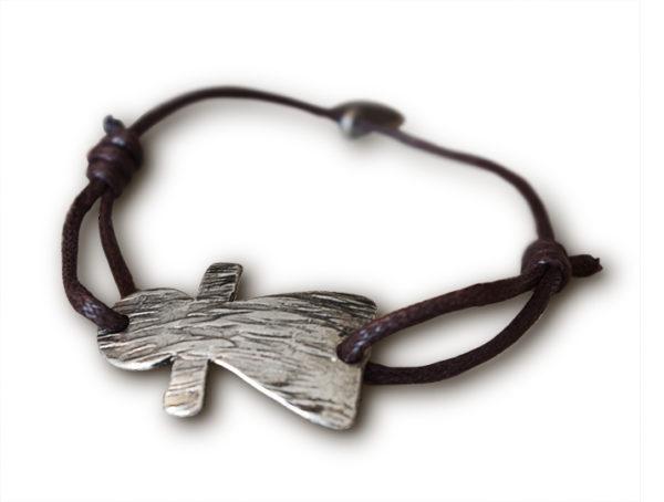 bracelet sur cordon marron tanit argente
