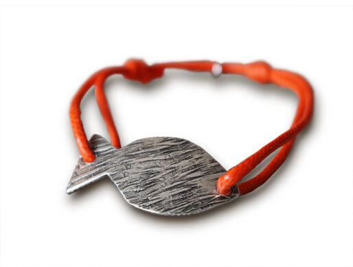 bracelet cordon orange poisson argente