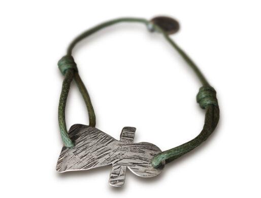 bracelet cordon vert kaki tanit argente