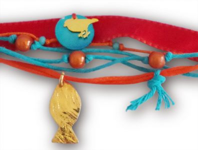 bracelet ruban bleu canard orange zoom