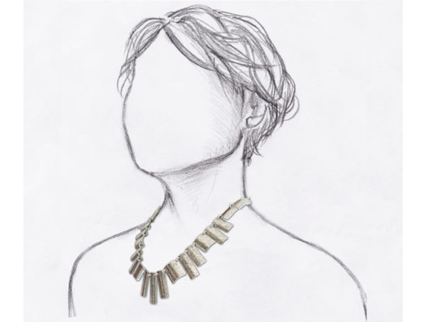 collier fantaisie argente porte