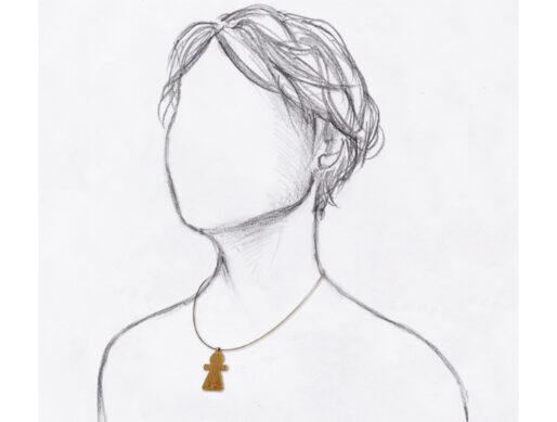collier fin cable doré pendentif tanit grand porte