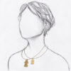 collier fin cable doré pendentif tanit taille relative